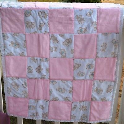 pink teddy bear crib quilt