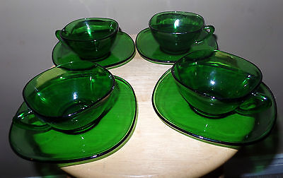 Vintage GREEN Emerald 8 Piece Square GLASS Tea CUP and SAUCER Set~VERECO France