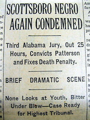 1933 NY Times newspaper SCOTTSBORO BOYS Heywood Patterson TRIAL - GUILTY verdict