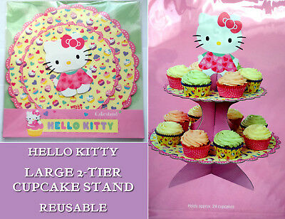 HELLO KITTY CAKE STAND 2-TIER Pink Yellow Scallop Edge HOLDS UP2 24 PARTY TREATS