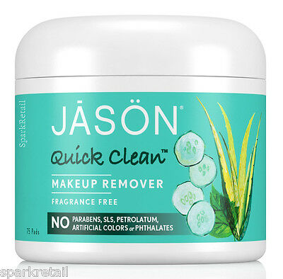 Jason Quick Clean Fragrance Free Make Up MAKEUP REMOVER 75 Pads/Cloths/Wipes