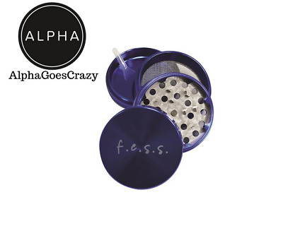 """Large Spice Tobacco Herb Weed Grinder-4 Pcs with Pollen Catcher-2.5"""" Gift Blue"""