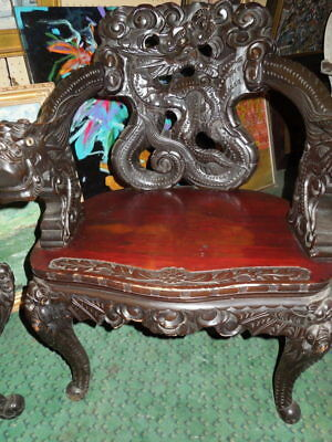 """Chinese, Carved, Dragon Chair and Table, 34"""" H"""