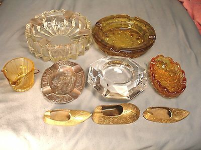 Lot of 9 Vintage Ashtrays Brass Crystal Amber Glass Ashcan Souvenir USED