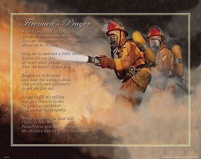 Fireman's Prayer Motivational Poster Art Print Charles Freitag Gift  MVP550