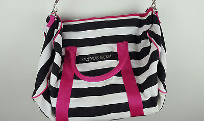 Victoria's Secret Black and White Striped Zip Up Large Overnight Duffel Tote Bag