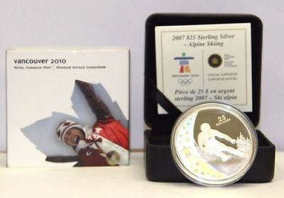 Vancouver 2010 Royal Canadian Mint Sterling Silver 2007 $25 Coin - Alpine Skiing