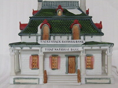 Lemax Dickensvale Collectables, Porcelain Hackensack Savings Bank, First Nationa