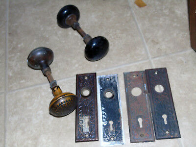 4 Eastlake decorative antique matching Victorian door knob plates 2 knobs