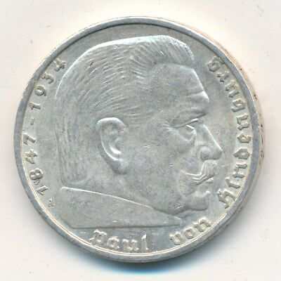 1938-A Germany 5 Mark Silver-Reichmark-Nazi-World War Ii-Nice Coin! Ships Free!