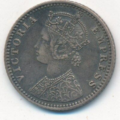 1886 India Silver 1/4 Rupee-Very Nice Lightly Circulated Indian Coin-Ships Free!