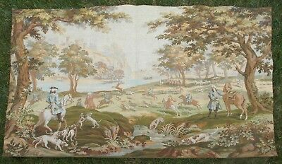 """Large Antique / vintage French Wall Hanging Tapestry Hunting Scene  74"""" x 51"""""""