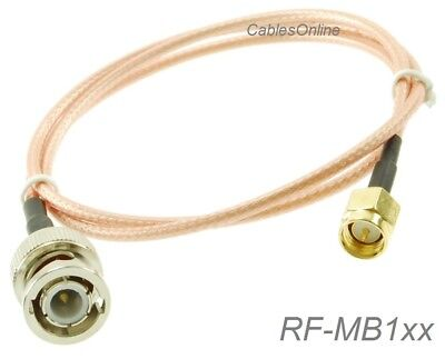SMA Male to BNC Male 50-Ohm RG316 Coax Low Loss Jumper RF Cable