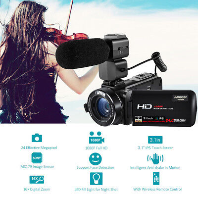 Andoer WiFi IPS HD 1080P 24MP Digital Video Camera Camcorder DV with Microphone
