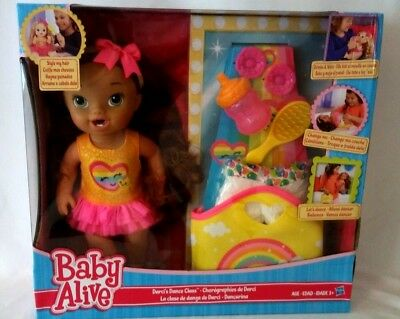 Baby Alive Darcis Dance Class Brown Hair Doll Brunette Drinks & Wets Girls Toy