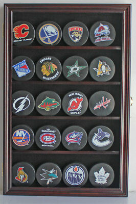 20 NHL size Hockey Puck Display Case Wall Shadow Box Cabinet - CC01