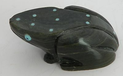 Vintage Native American, Zuni Frog detailed fetish stone carving Turquoise inlay