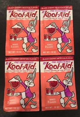 SET of FOUR UNOPENED 1960s Vintage KOOL AID DRINK PACKETS!!! Bugs Bunny MONKEES