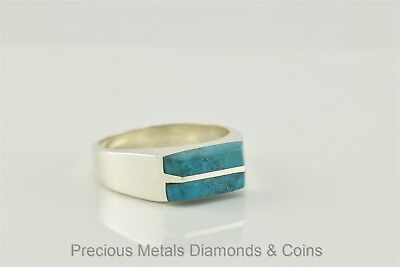 Men`s Sterling Silver Turquoise Inlay Ring Signed TF-81 Mexico Sz: 13
