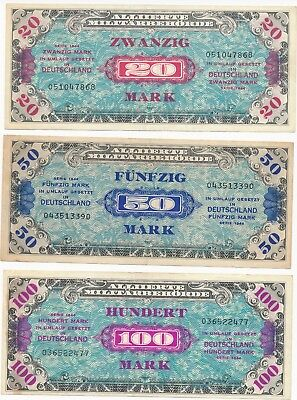 LOT OF 3 MARK ALLIED MILITARY CURRENCY 1944 GERMAN BANKNOTES WW2 20/50/100 marks
