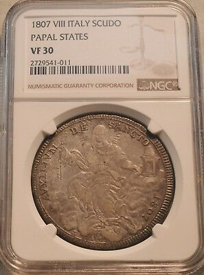 1807 VIII Italy Scudo NGC VF 30 Papal States Silver Italian Coin, Problem Free