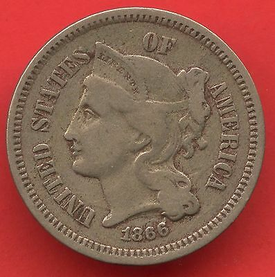 1866 United States 3 Cent Nickel Coin