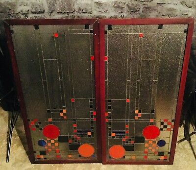 Victorian Frosted Stained Glass Panels (Framed)