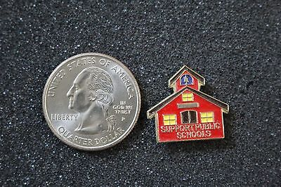 Support Public Schools Red School House Gold Tone Pin Pinback #15424