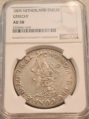 1805 Ducat NGC AU 58 Netherlands Utrecht Silver Beautiful High Grade Coin