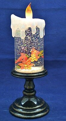 VISUAL DELIGHT! Snowy Cardinal Globe Candle Flickering Lights Sparkle NEW IN BOX