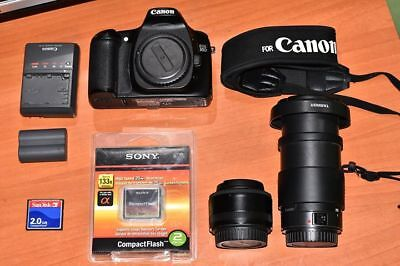 Canon EOS 30D 8.2MP DSLR - Black With 2 Lens 50MM F1.8 & 28-200MM and 2X2GB CF
