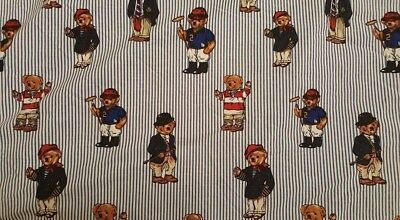 Polo Bear Ralph Lauren Vintage Full Size Fitted Bed Sheet Fabric