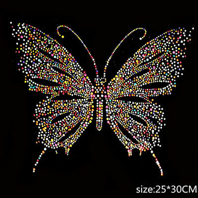 Butterfly Patch Hotfix Rhinestones Motifs Iron On Crystal Patch Clothes Applique