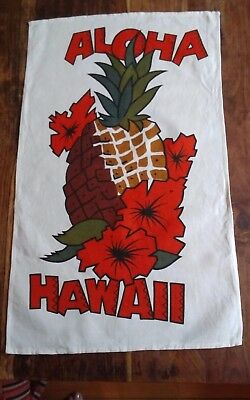Vtg cotton linen tea towel Aloha Hawaii pineapple made in Hong Kong