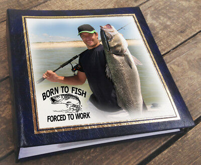 Large personalised photo album book 6x4 200 photos, Born to fish christmas gift