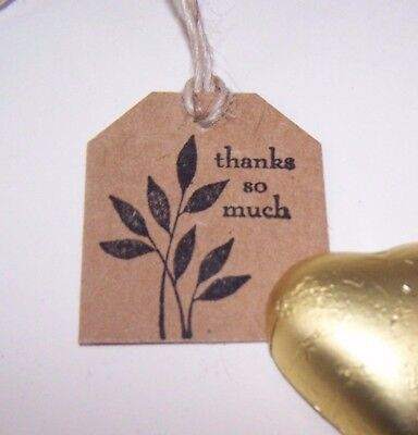"Handmade stamped, Small 3.5x4cm vintage gift tags, Pk50.  ""Thank you so much"""