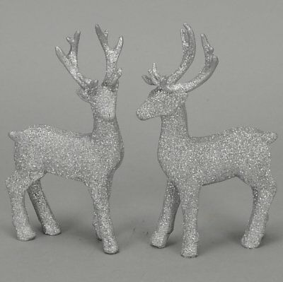 Set Of 2 Silver Glitter Bling Effect Reindeer - Stag Figurine Ornament Christmas