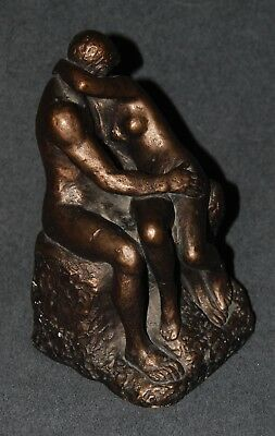 Rodin THE KISS Austin Productions Statue Sculpture Man & Woman Nude Bronze Color