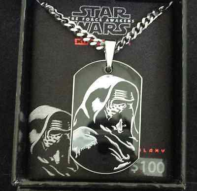 "Star Wars Men's Necklace 'kylo Ren' 18"" Stainless Steel Pendant Dog Tag/new"