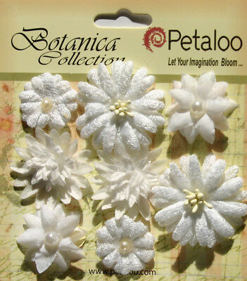 Mixed BLOOMS MINI - 8 FABRIC Flowers WHITE 23-35mm Botanica Petaloo G