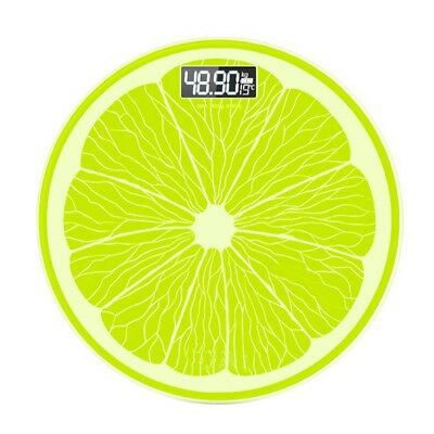 Round Lemon Electronic LCD Digital Bathroom Body Weight Scale Tempered Glass