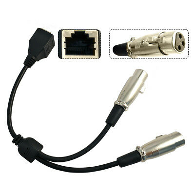 0.2m RJ45 Ethernet Female to Dual XLR Female 3Pin Adapter Converter Cable Useful