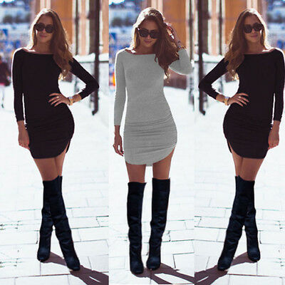 UK Womens Party Evening Bodycon Dress Ladies Mini Dress Long Sleeve Size 6 - 16