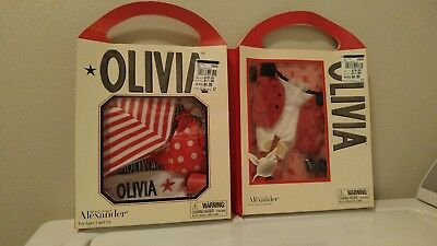 NIB RARE 2002 & 03 Lot Of 2 Madame Alexander Olivia The Pig Outfits RETIRED NEW