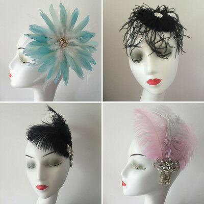 Handmade Chic Feather Fascinator Hair Clip Wedding Stage Party Costume Headpiece