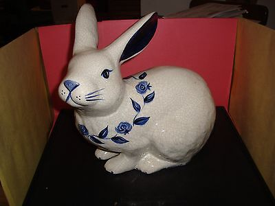 """Dedham Pottery The Potting Shed 11"""" Tall Sitting Rabbit / Bunny Mint Condition"""