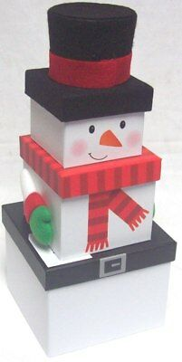 Set Of 3 Nested Stackable Christmas Eve Character Gift Boxes Square - Snowman