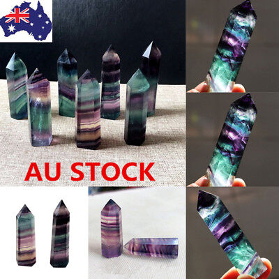 Colorful Natural Fluorite Quartz Crystal Stone Wand Point Healing Hexagonal Wand
