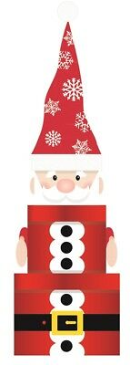 Set Of 3 Nested Stackable Christmas Eve Character Gift Boxes Square - Santa