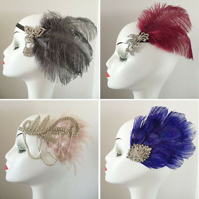 Ostrich Feather Fascinator Hair Clip Headband Gatsby Party Wedding Head Dress